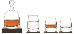 LSA Whisky Islay Walnut Decanter & Glasses Set - Clear 1L