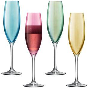 LSA Polka Champagne Flutes - Pastel 225ml (Assorted Set of 4)
