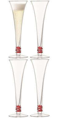 LSA Prosecco Flutes - Red 140ml (Set of 4)