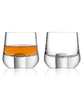 LSA Whisky Islay Shot Glasses & Walnut Coaster - Clear 80ml (Set of 2)